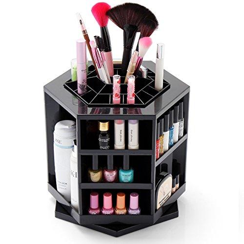 Custodia per il make Up Custodia per i cosmetici girevole a 360 gradi Organizer Custodia per selezionare sorteggiare e conservare i prodotti per il trucco colore nero marchio MyBeautyworld24