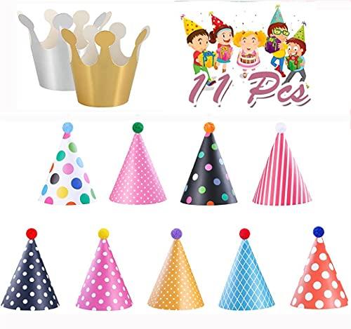 guofa Partyhüte set,11 Stücke Partyhüte Party Kegel Hüte Partyhütchen Geburtstag Kegel Hüte Party Supplies Hütchen Geburtstagshut für Kinder Erwachsene Geburtstag Weihnachten Neujahrsfeier