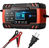 Car Battery Charger,12V/8A 24V/4A Compatible Automotive Smart Portable Battery Charger Maintainer/Pulse Repair Charger Pack for Car, Motorcycle, Lawn Mower, Boat and More
