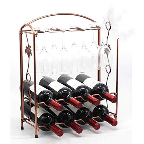 Botellero de Vino Tradicional Botellero Estante de Vino Sala de Estar Estante de Vino, Se Reinicia Estante de Vino, Estante de Vino Decorativo, Estantes de Vino Gunmetal Hierro Sala de Estar en el Ho