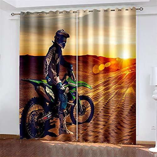 HOMEIEU Cortina Opaca con Ojales, Patrón De Motocicleta De Impresión Y Teñido 3D, Adecuado para El Balcón De La Sala De Estar Y El Dormitorio, Juego De 2 Piezas (AN132xAL114cm-2PCS)
