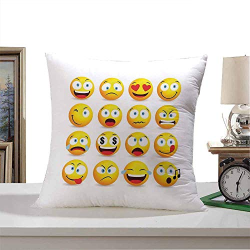 SKDSArts Throw Pillow Covers Emoji,Smiley Faces Collection with Circular Shapes with Various Emotions Singing Angry,Multicolor 20'x20',Microfiber Hypoallergenic Wrinkle Resistant