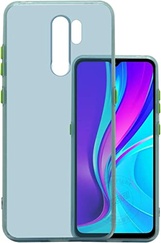 Jkobi Translucent Smoke Flexible Soft Back Case Cover For Xiaomi Mi Redmi 9 Prime Light Weight Shockproof Hightlighted Buttons Ice Blue