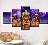 sxkdyax Sin Marco Impresión de Carteles Lienzo Modular 5 Piezas Planeta y Berlín Catedral Paisaje Pintura Decoración Moderna Sala de Estar Arte de Pared Imágenes