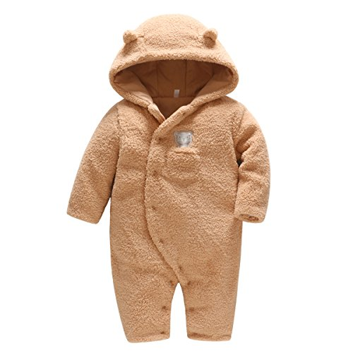 Vine Traje de Nieve Bebé Niños Niñas Ropa de Invierno Footed Peleles Mameluco con Capucha Cálido Monos, Marrón 3-6 Meses