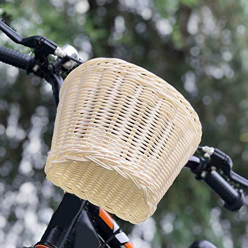 Cesta de mimbre artificial hecha a mano para bicicleta, cesta de almacenamiento frontal para manillar con correa de piel, para niños y niñas, 8.27 x 6.3 x 6.3 pulgadas
