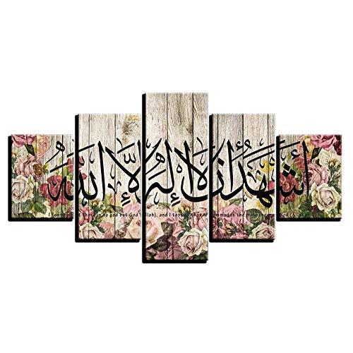 Manman Dekoration 5 Bilder Auf Der Leinwand Muslimische Kalligraphie Poster Druck Arabisch Islamische Wandkunst 5 Stück Blumenmalerei Modulare Leinwand Allahu Akbar Bilder Wohnkultur 200 X 100 Cm Fot