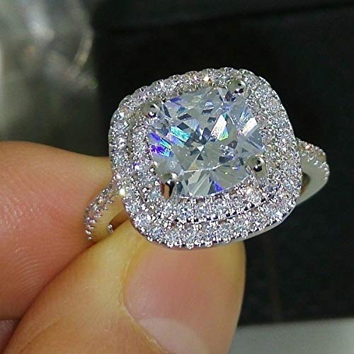 Metmejiao Fashion Ring Cushion Cut 4ct Zircon Diamonds Stone 925 Sterling Silver Engagement Wedding Band Ring for Women (9)