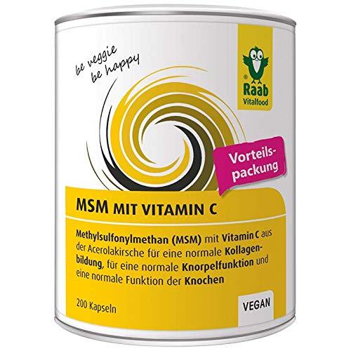 Raab Vitalfood MSM-Kapseln, Methylsulfonylmethan, Vitamin C, 200 Stück, hochrein, vegan