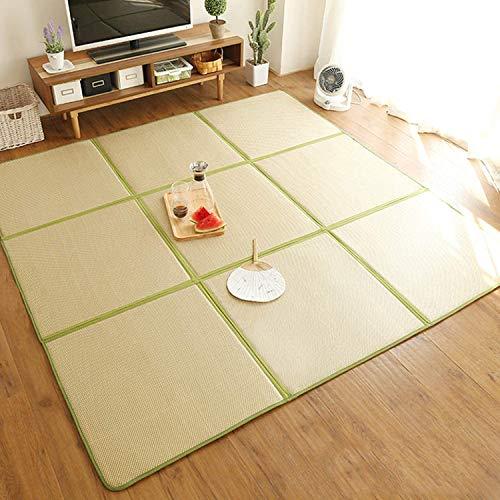 ybaymy Japanische Tatami Matte Atmungsaktive Schlafmatte Sommer Coole Bodenmatte, Dicke 1,2 cm Rattanmatte rutschfeste Reisstroh Bodenmatte, 180cm x 180cm