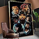 Hip-Hop Rap Pop Music Stars Rapero Cantante Tupac Shakur West Coast 2PAC Lienzo Pintura Arte de la pared Póster Niños Fans Dormitorio Studio Club Decoración para el hogar Mural