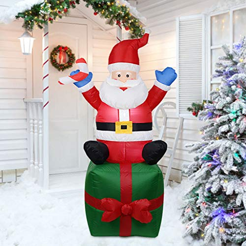70.9inch Christmas Inflatable Santa Claus Snowman Yard Decorations, Indoor Outdoor Inflatable Christmas Blow up Decor with Built-in LEDs for Yard Lawn Patio Garden Xmas Party (Muticolor)
