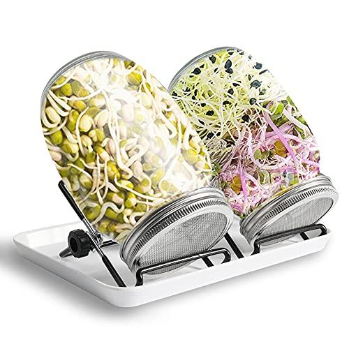 KNMY Sprossenglas 2er Set mit Ständer 1L sprossenglas gefu Keimglas für Sprossen keimlinge Samen mit hochwertigem Edelstahl-Gitterdeckel Glas Deckel aus Edelstahl, Vegan Geschenke