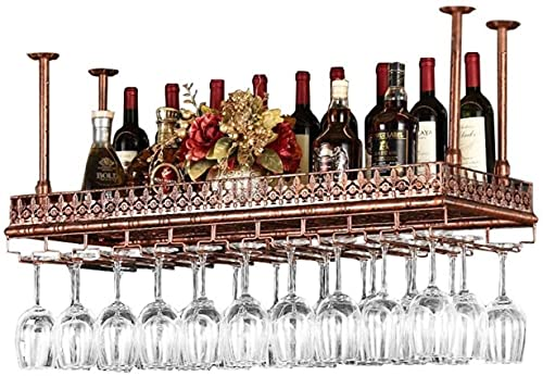 Bedspread Wine Racks Adjustable Height Ceiling Mounted Hanging Wine Bottle Holder Metal Iron Wine Glass Rack Goblet Stemware Racks Vintage Style Decoration Storage Shelf (Size : 80 * 35cm)
