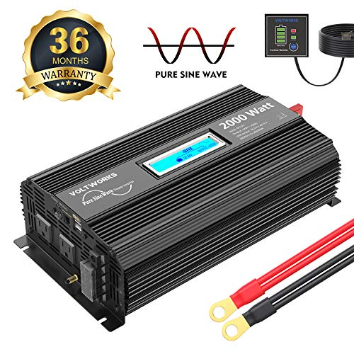 Pure Sine Wave Power Inverter 2000Watt car Converter DC 12V to 120V AC with 2 AC Outlets 2x2.4A USB Ports Remote Control and LCD Display by VOLTWORKS