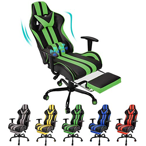 Massage Gaming Chair,Racing Office Computer Game Chair,Ergonomic Gaming Chair with Adjustable Recliner Retractable Footrest and Headrest/Lumbar Pillow(Green)