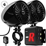 GoHawk TJ4-R Amplifier 4' Full Range Waterproof Bluetooth Motorcycle Stereo Speakers 1 to 1.5 in. Handlebar Mount Audio Amp System Harley Touring Cruiser ATV UTV RZR, AUX, FM Radio (TJ4-R Black)