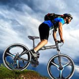 """Ltrotted Folding Mountain Bike - 26"""" 3-Spoke Wheels - High Carbon Steel Mountain Bicycle - Shimanos 21 Speed Road Bike - Dual Disc Brakes - Full Suspension, Suitable for Height 63-71 Inch (Black)"""