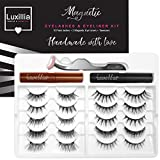 Luxillia by Amazon (Brown + Black) Magnetic Eyeliner with Eyelashes Kit, Accents + Full Lashes, 8D Most Natural Look, Advanced Applicator Tool, Reusable False Eye lash Set, Waterproof Liquid Liner
