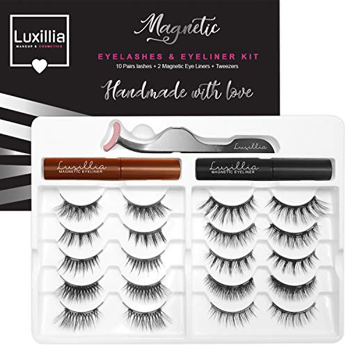 Luxillia by Amazon 8D Magnetic Eyelashes with Eyeliner Kit, Most Natural Look, Strongest Hold, Waterproof Liquid Eye Liner, Reusable Lashes, False Eye Lash Set, Best Eyelash Magnet, Free Applicator