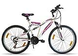 VTT Bicicleta de montaña de 26 Pulgadas con suspensión Completa para Mujer Actimover/Flamingo – Marco suspendido – Horquilla telescópica – 18 velocidades por Asas giratorias