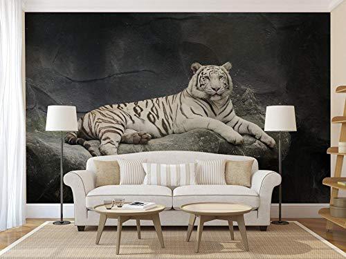 Fotobehang Fotobehang Witte Tijger Dier Muurposter Muurstickers Home Decor Vinyl Verwijderbaar Decor-150x105 cm (59,1 bij 41,3 inch)