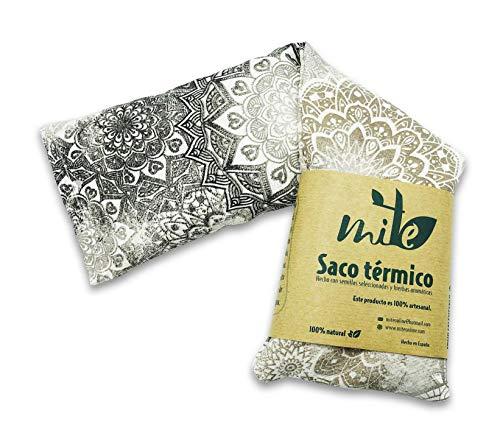 Saco térmico Mandala de semillas y hierbas con funda lavable (50cm x 14cm) Lavanda – MITE (Mandala Gris)