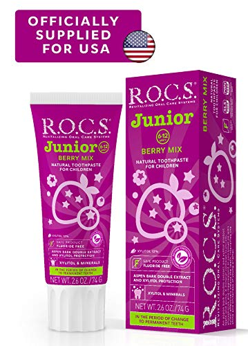 R.O.C.S. Junior Berry Mix Toothpaste - Enamel Whitening, Teeth, and Gum Protection - Best for Children 6-12 Years Old - Delicious Flavors, Safe for Kids to Swallow - Natural, No Fluoride or Sulfate