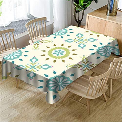 Lushi - Mantel de mesa de comedor con diseño geométrico y moderno, rectangular, para sala de estar, comedor o comedor, Geometría Verde, 55.12*77.86