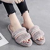 ZapatillasParaMujerAlgodónSlippers,Otoño Invierno Cálido Vintage Gris Simple Plus Antideslizante...