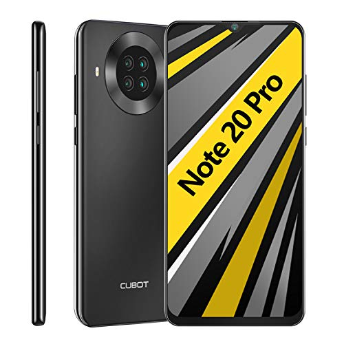CUBOT Note 20 Pro Smartphone ohne Vertrag, 6GB RAM+128GB ROM, 4G Handy, 6.5 Zoll HD-Display, Android 10.0, 4200mAh Akku, AI Kameras, Dual SIM, NFC, Face ID, Deutsche Version, Schwarz