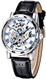 GuTe出品 アンティーク風 ビンテージ&スケルトン スティームパンク 男女 シルバーにブルー ユニーク&自動巻き腕時計