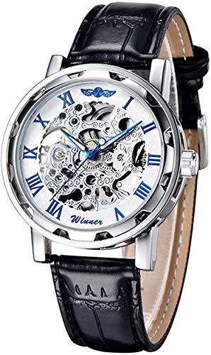 GuTe出品&アンティーク風&ビンテージ&スケルトン&スティームパンク&男女&シルバーにブルー&ユニーク&自動巻き腕時計