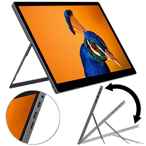 """auvisio Tragbarer Monitor: Mobiler Akku-Full-HD-IPS-Monitor, 39,6 cm (15,6\""""), USB Typ C, HDMI (Tragbarer Monitor mit Akku)"""
