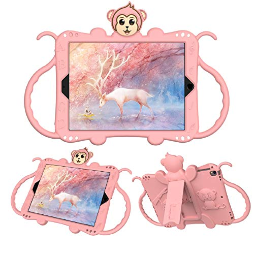 Case for iPad 9.7inch 6th gen 2018/5th Gen 2017, iPad air 2 case, EC-Touch Kid-Friendly Silicone Cartoon Monkey Shockproof Kickstand Protective Case with Adjustable Strap (Rose Gold)