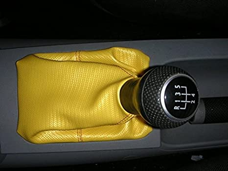 WHITE STITCHING FITS VW BEETLE 1998-2010 SHIFT BOOT GREY GENUINE LEATHER