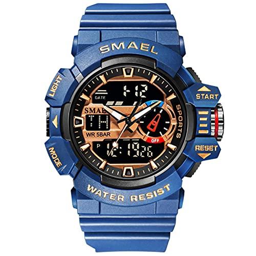 SMAEL Relojes Deportivos para Hombre Resistente Al Agua Digital Militares Relojes Multifuncional Militar Reloj para Hombre,Dark Blue