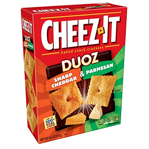 Cheez-It DUOZ Baked Snack Cheese Crackers, Sharp Cheddar and Parmesan, 12.4 oz Box