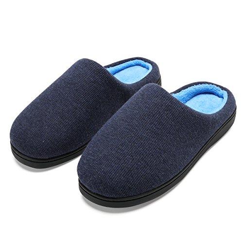 Zapatillas de casa de Hombre, Ultraligero cómodo y Antideslizante, Zapatilla de Estar por casa para Hombre, Azul Marino, Interior: Celeste, 44-45 EU (28 -28.5 CM)