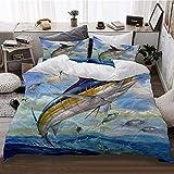 ZOANEN Ropa de Cama - Juego de Funda nórdica,Marlin Azul marlines atún pequeño Bonito Pescado Terry Fox,Mantener Caliente Invierno Nuevo,200 x 200cm