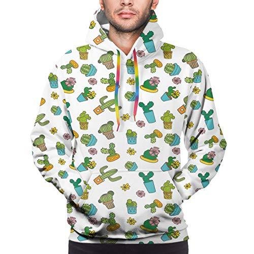 Men's Hoodies Sweatshirts,Cartoon Flower Pattern with In Pots and Vases Vintage Inspired...