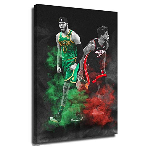 Jayson Tatum Boston Celtics Canvas Poster Wall Art Home Decor Framed Miami Heat Jimmy Butler Basketball NBA Star Eastern Conference Finals 24x36 Inch