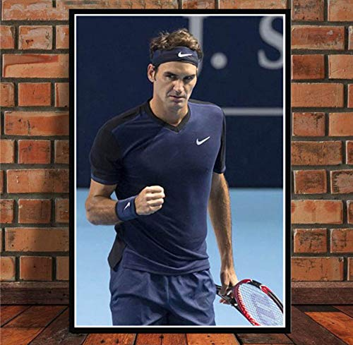 MZCYL Leinwand Malerei Wandkunst Bild Sport Super Star Roger Federer Tennisspieler Poster Drucken Leinwand Malerei Ohne Rahmen 40 * 60 cm