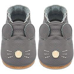 BAOLESEM Baby Lauflernschuhe Jungen Mädchen Weicher Leder Krabbelschuhe Kleinkind Hausschuhe Babyschuhe mit Wildledersohlen,Grau Rat,12-18 Monate