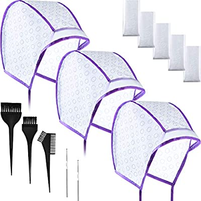 Hair Coloring Kit, Include 12 Pieces Disposable Hair Highlight Cap Tipping Cap Hair Coloring Highlight Dye Cap with 2 Metal Hooks, 3 Dye Brush and 20 Pairs Dye Gloves for Salon Home