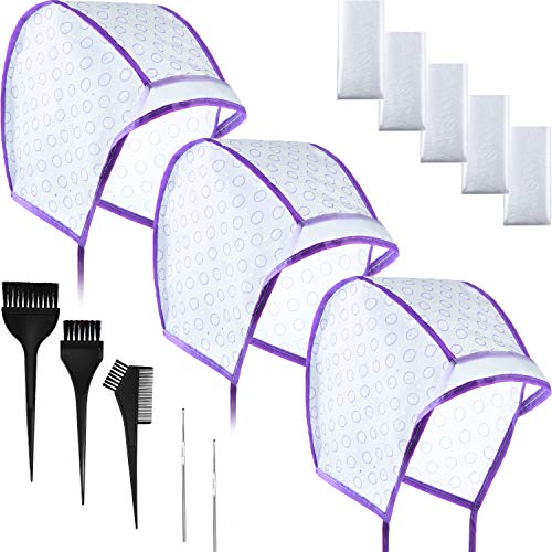 Hair Coloring Kit, Include 12 Pieces Hair Highlight Cap Tipping Cap Hair Coloring Highlight Dye Cap with 2 Pieces Metal Hooks, 3 Pieces Dye Brush and 20 Pairs Dye Gloves for Salon Home (Purple)