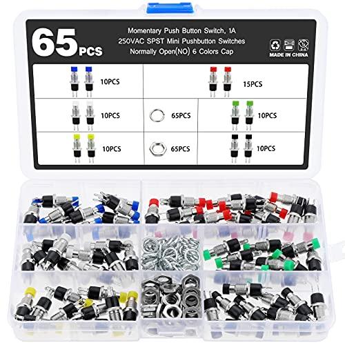 eROOSI Interruptor de botón momentáneo de 65 piezas, 1A 250VAC SPST mini interruptor de botón normalmente abierto (NO) de 6 colores, adecuado para proyectos electrónicos de pequeña potencia