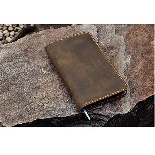 PPuujia Cuaderno de cuero personalizado de piel envejecida para minimalismo arte cuaderno composición diario B5 clásico mediano A5 A4 (color: sin funda de bolígrafo, tamaño: composición B5)