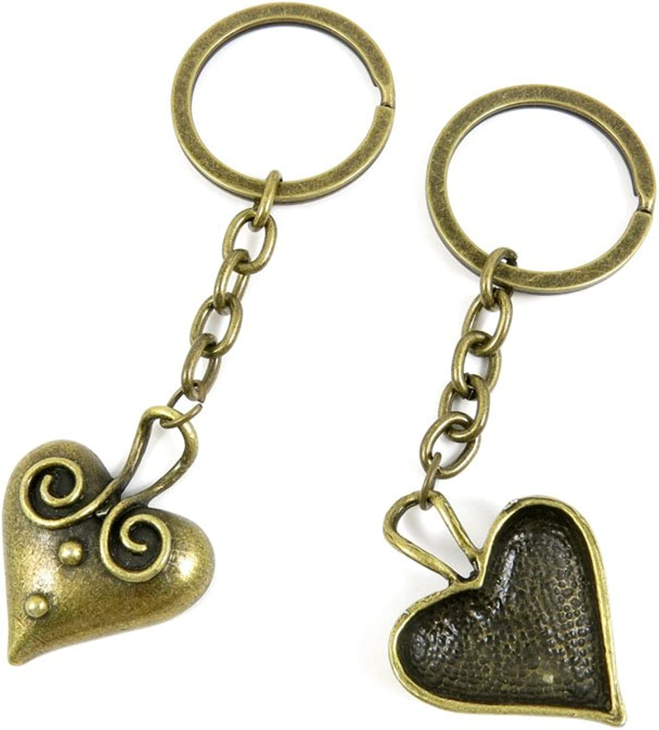 100 PCS Keyrings Keychains Key Ring Chains Tags Jewelry Findings Clasps Buckles Supplies V7ZB3 Heart