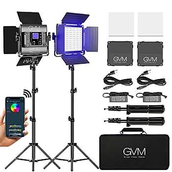 GVM RGB LED Video Light Photography Lighting with APP Control 800D Video Lighting Kit for YouTube Studio 2 Packs Led Panel Light for Gaming Streaming Conference 8 Kinds of Scene Lights CRI 97